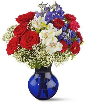 Red Roses, Asters and White Alstroemeria