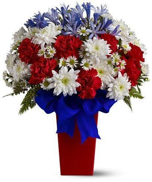 Red White and Blue Daisies and Carnations