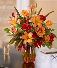 Asiatic Lilies and Peach and Orange Roses