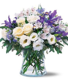 Romantic Bouquet of White and Blue Flowers
