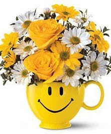 Daisies and Roses in a Happy Mug