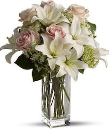 Pink Roses and White Asiatic Lilies