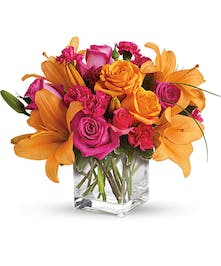Orange Lilies, Roses and Hot Pink Carnations