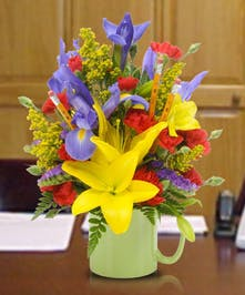 Flowers Delivered in a Ceramic Cup