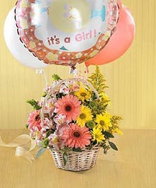 white Basket and Mylar Balloon