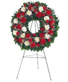Red and White Carnations, Circular Wreath on Easel
