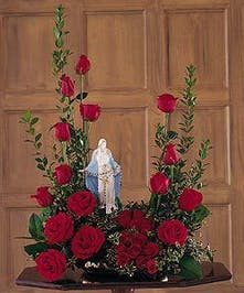Roses and Lady of Grace Statue