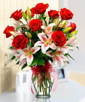 Red Roses and Sensational Lillies